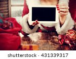 santa claus woman and table and ... | Shutterstock . vector #431339317