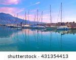 sunset boats reflection at... | Shutterstock . vector #431354413