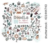 doodle 100 icons. universal set ... | Shutterstock .eps vector #431444743