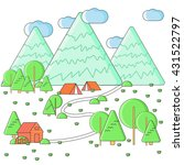 weekend in the tent. hiking and ... | Shutterstock .eps vector #431522797