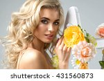 delicate blonde woman with... | Shutterstock . vector #431560873