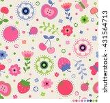 cute flower  butterfly  ladybug ... | Shutterstock .eps vector #431564713