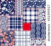blue  white  red patchwork.... | Shutterstock .eps vector #431595517