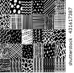 seamless patchwork black and... | Shutterstock .eps vector #431617387