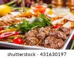 mixed grilled meat and... | Shutterstock . vector #431630197