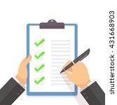 business man fill the green... | Shutterstock .eps vector #431668903