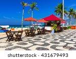 ipanema beach with mosaic of...   Shutterstock . vector #431679493