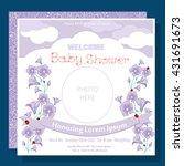 baby arrival card   photo frame ...   Shutterstock .eps vector #431691673