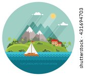 Color vector flat icon set and illustration summer time: village, mountain, sun, clouds, trees nature, sea, boat, sail, fishing, walking