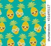 seamless pattern cute funny...   Shutterstock .eps vector #431695117