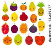 set of cute funny kawaii fruit... | Shutterstock .eps vector #431695177
