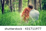 back side of a peaceful couple...   Shutterstock . vector #431711977
