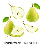 set of fresh green pears with... | Shutterstock . vector #431730847