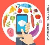 chef hat on smartphone screen ... | Shutterstock .eps vector #431763817