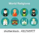 collection of temples and... | Shutterstock .eps vector #431765977