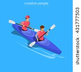 Isometric Kayakers Rafting...