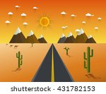 picture of desert road  cacti ... | Shutterstock .eps vector #431782153