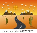 picture of desert road  cacti ... | Shutterstock .eps vector #431782723