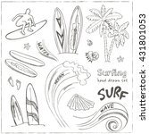 set of doodle sketch surfing... | Shutterstock .eps vector #431801053