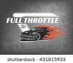 muscle car logo on dark grunge... | Shutterstock .eps vector #431815933