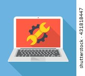 laptop with cog and wrench... | Shutterstock .eps vector #431818447