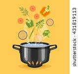 boiled vegetables. boiled water ... | Shutterstock .eps vector #431819113