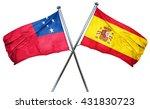 samoa flag with spain flag  3d...   Shutterstock . vector #431830723