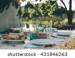 table with food for banquet on... | Shutterstock . vector #431846263
