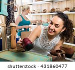 happy cheerful girl...   Shutterstock . vector #431860477