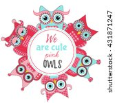 Pink Owls Colorful Cute Circle