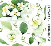 seamless pattern with jasmine...   Shutterstock . vector #431891767