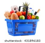 plastic shopping basket with... | Shutterstock . vector #431896183