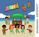 luau party invitation. vector... | Shutterstock .eps vector #431933377