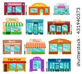 shops and stores front icons... | Shutterstock .eps vector #431940373