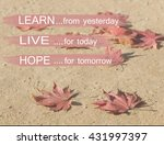 motivation quote with autumn... | Shutterstock . vector #431997397