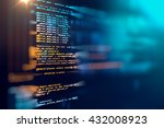 Stock photo programming code abstract technology background of software developer and computer script 432008923