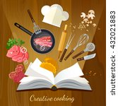 cookbook creative cooking... | Shutterstock .eps vector #432021883