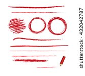 set of red pencil strokes  with ... | Shutterstock .eps vector #432042787