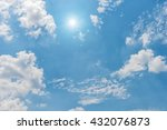 blue sky with clouds and sun... | Shutterstock . vector #432076873