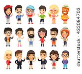 set of 18 casually dressed flat ... | Shutterstock .eps vector #432084703
