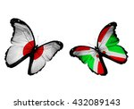 concept   two butterflies with... | Shutterstock . vector #432089143