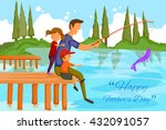 happy father's day greeting... | Shutterstock .eps vector #432091057