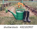 rubber boots with watering can... | Shutterstock . vector #432102907