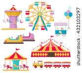 set of amusement park elements | Shutterstock .eps vector #432103297