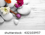 spa composition on white wooden ... | Shutterstock . vector #432103957