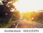 asphalt road at sunset with... | Shutterstock . vector #432125293