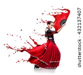young woman dancing flamenco... | Shutterstock . vector #432137407