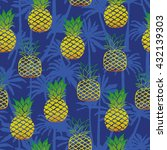 pineapple and palm tree  ... | Shutterstock .eps vector #432139303