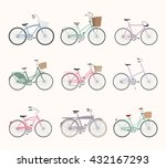 set of retro bicycles isolated... | Shutterstock . vector #432167293