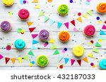 colorful cupcake party... | Shutterstock . vector #432187033